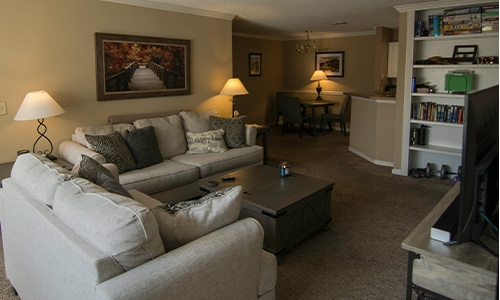 the living room of a sober living home for men in Hoover